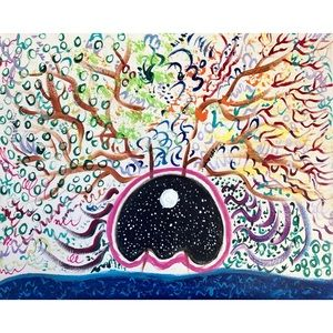 """Tree in the Universe Acrylic Painting 16x20"""""""